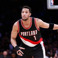 26 March 2016: Portland Trail Blazers guard Evan Turner (1) brings the ball up court during the Portland Trail Blazers 97-81 victory over the Los Angeles Lakers, at the Staples Center, Los Angeles, California, USA.