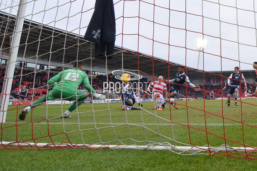 Richard Chaplow of Doncaster Rovers scores goal to go level at 1 all  during the Sky Bet League 1 match between Doncaster Rovers and Millwall at the Keepmoat Stadium, Doncaster, England on 27 February 2016. Photo by Ian Lyall.