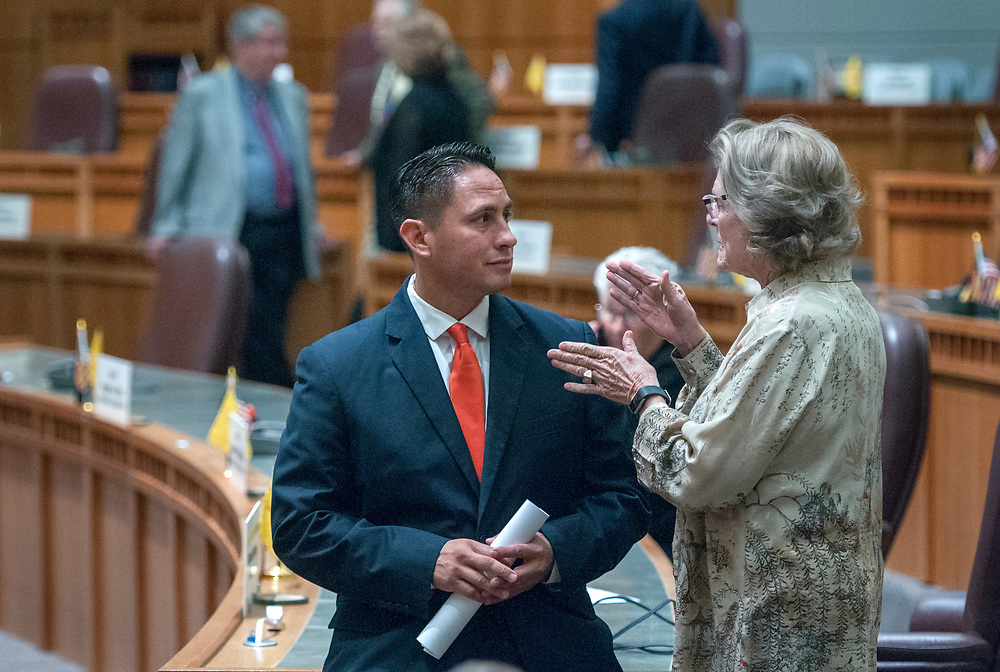em053017g/a/Senator Howie Morales, D-Silver City and Senate Pres. Pro Tem. Mary Kay Papen, D-Las Cruces, talk after the end of the special session at the State Capitol in Santa Fe, Tuesday May 30, 2017. Both chambers of the Legislature ended the special session fairly quickly on Tuesday afternoon. (Eddie Moore/Albuquerque Journal