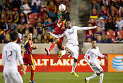 Real Salt Lake defender Kenny Mansally goes up for a header against Vancouver forward Dane Richards during the first half of the MLS match between Real Salt Lake and Vancouver Whitecaps FC at Rio Tinto Stadium, Saturday, Oct. 27, 2012.