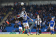 Notts County forward Shola Ameobi (9) battles with Chesterfield midfielder Robbie Weir (28) during the EFL Sky Bet League 2 match between Chesterfield and Notts County at the b2net stadium, Chesterfield, England on 25 March 2018. Picture by Jon Hobley.