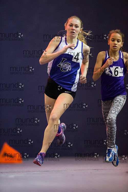 McKenzie Morgan of Laurel Creek competes at the STL-LW All Comers Meet # 2 in London, Ontario, Saturday, January 24, 2015.<br /> Mundo Sport Images/ Geoff Robins