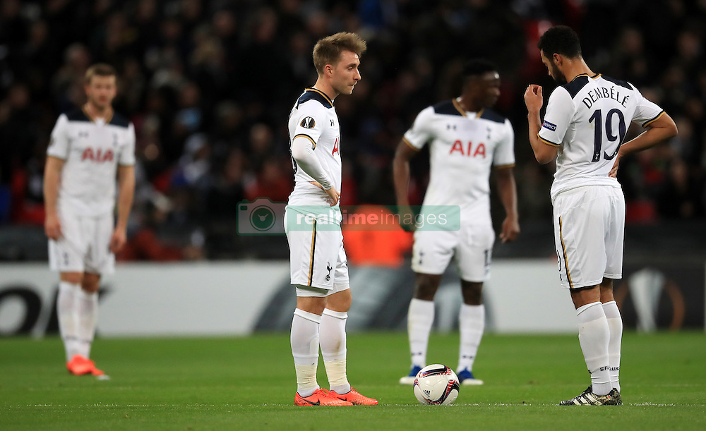 Tottenham Hotspur players looks dejected after conceding a goal during the UEFA Europa League, Round of 32 Second Leg match at Wembley Stadium, London.