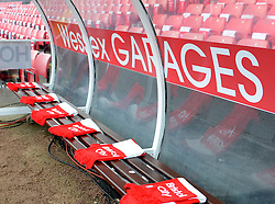 Scarves laid out on the bench at Ashton Gate - Photo mandatory by-line: Paul Knight/JMP - Mobile: 07966 386802 - 25/01/2015 - SPORT - Football - Bristol - Ashton Gate - Bristol City v West Ham United - FA Cup fourth round