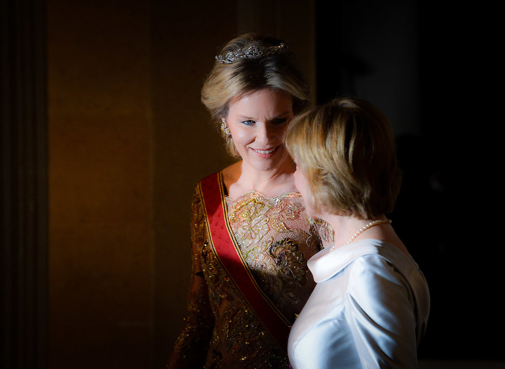 Brussels 8 March 2016<br /> <br /> State visit of the President of the Federal Republic of Germany to Belgium - Gala dinner at the Castle of Laeken<br /> <br /> Pix Queen Mathilde , Daniela Schadt<br />  <br /> Credit Melanie Wenger / Isopix