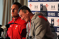 Gethin Jenkins (l) , announced as capt for the match against England by Coach Rob Howley (r) . Wales rugby team training and press conference at the Vale, Hensol near Cardiff, South Wales on Thursday 14th March 2013.  the team are training ahead of the final RBS Six nations match against England this weekend. pic by  Andrew Orchard, Andrew Orchard sports photography,
