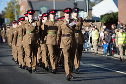 @Licensed to London News Pictures 13/11/2016. Maidstone, Kent. Members of the British Armed Forces 36 Engineer Regiment march to the war memorial for the Remembrance Day Service in Maidstone, Kent. Photo credit: Manu Palomeque/LNP