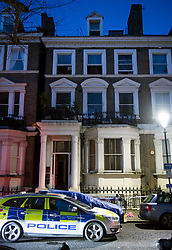 © Licensed to London News Pictures. 07/02/2018. London, UK. Police outside a property on Holland Park Gardens, West London iwhere one person has dies in a fire. Over 80 firefighters are battling the huge flat blaze on 'Millionaire's Row' in one of the wealthiest parts of the capital. Photo credit: Ben Cawthra/LNP