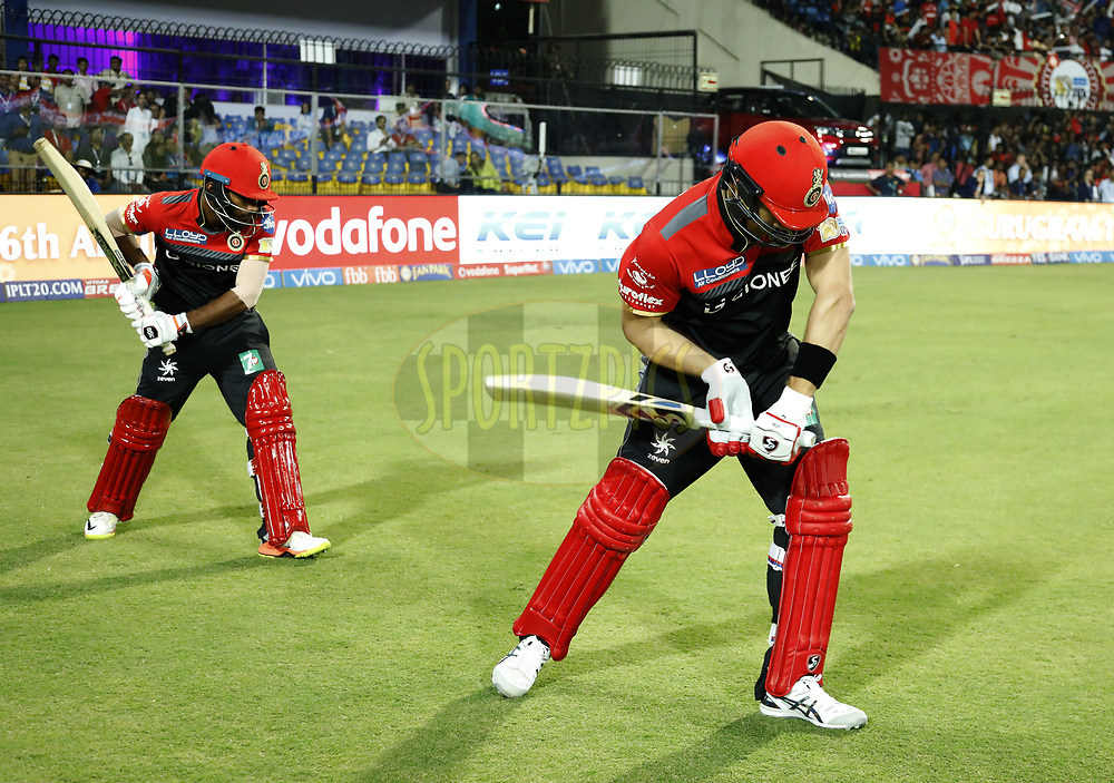 Opening bats man  Shane Watson of the Royal Challengers Bangalore  and Vishnu Vinod of the Royal Challengers Bangalore during match 8 of the Vivo 2017 Indian Premier League between the Kings X1 Punjab and the Royal Challengers Bangalore held at the Holkar Cricket Stadium in Indore, India on the 10th April 2017<br /> <br /> Photo by Arjun Singh - IPL - Sportzpics