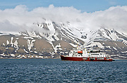 "The exploration vessle ""Polar Star"" is anchored in Longyearbyen, Svalbard, prior to an expedition in June 2008."