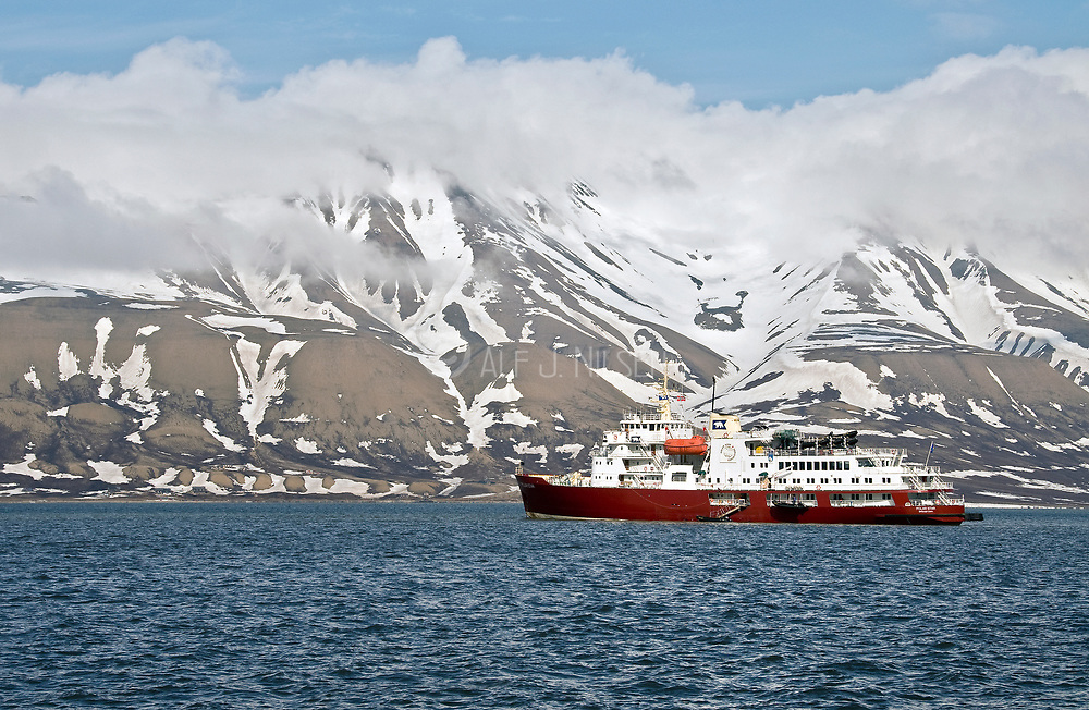 """The exploration vessle """"Polar Star"""" is anchored in Longyearbyen, Svalbard, prior to an expedition in June 2008."""