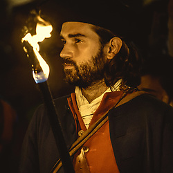 September 10, 2017 - Barcelona, Spain - A Catalan 'Miquelet' in his historic costume takes part in a pro-independence torch procession through Barcelona's 'El Borne' quarter on the eve of Catalonia's National Day. (Credit Image: © Matthias Oesterle via ZUMA Wire)