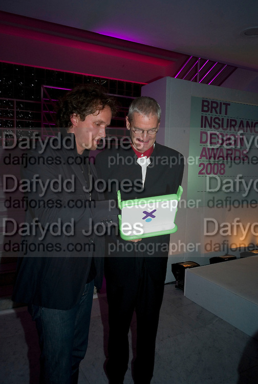 YVES BEHAR AND SIR JAMES DYSON, Brit Insurance Design Awards. Design Museum. London. 18 March 2008.  *** Local Caption *** -DO NOT ARCHIVE-© Copyright Photograph by Dafydd Jones. 248 Clapham Rd. London SW9 0PZ. Tel 0207 820 0771. www.dafjones.com.
