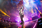 Steve Aoki and Will.I.Am performing at the iHeartRadio Music Festival in Las Vegas, Nevada on Sepembter 20, 2014.