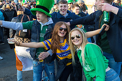 London, March 13th 2016. The annual St Patrick's Day Festival takes place in Trafalgar Square with performances on stage and plenty of Irish food and drink for the thousands of revellers.  PICTURED: with the beer flowing and live music on stage the party atmosphere fills Trafalgar Square. ©Paul Davey<br /> FOR LICENCING CONTACT: Paul Davey +44 (0) 7966 016 296 paul@pauldaveycreative.co.uk
