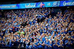 Supporters of Iceland during basketball match between National Teams of Greece and Iceland at Day 1 of the FIBA EuroBasket 2017 at Hartwall Arena in Helsinki, Finland on August 31, 2017. Photo by Vid Ponikvar / Sportida