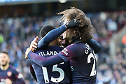 Arsenal forward Alexandre Lacazette (9) celebrates with Arsenal midfielder Ainsley Maitland-Niles (15) and Arsenal midfielder Matteo Guendouzi (29) after scoring his team's second goal during the Premier League match between Huddersfield Town and Arsenal at the John Smiths Stadium, Huddersfield, England on 9 February 2019.