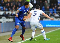 Nathaniel Mendez-Laing of Cardiff City battles with Maxime Colin of Birmingham City- Mandatory by-line: Nizaam Jones/JMP - 10/03/2018 -  FOOTBALL -  Cardiff City Stadium- Cardiff, Wales -  Cardiff City v Birmingham City - Sky Bet Championship