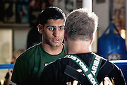 Amir Khan with his trainer Freddie Roach. Exclusive Amir Khan shoot for SEEN Sport Magazine at the Wildcard Gym, Los Angeles, USA. 3rd November 2010.