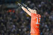 Leeds United goalkeeper Francisco Casilla (13) reacts to Leeds United forward Eddie Nketiah (14) (unpictured) scoring a goal and celebrates to make the score 1-0 during the EFL Sky Bet Championship match between Leeds United and Brentford at Elland Road, Leeds, England on 21 August 2019.