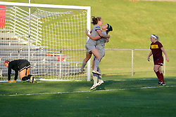04 November 2016:  Bronwyn Boswell celebrates a goal during an NCAA Missouri Valley Conference (MVC) Championship series women's semi-final soccer game between the Loyola Ramblers and the Evansville Purple Aces on Adelaide Street Field in Normal IL