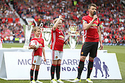 Manchester United 08 XI Michael Carrick with son and daughter during the Michael Carrick Testimonial Match between Manchester United 2008 XI and Michael Carrick All-Star XI at Old Trafford, Manchester, England on 4 June 2017. Photo by Phil Duncan.