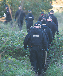 © Licensed to London News Pictures. 02/11/2018. Swanscombe, UK.Police search teams are searching a new location in Swanscombe in the hunt for mum of five Sarah Wellgreen who has been missing for over three weeks. . Photo credit: Grant Falvey/LNP