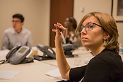 Purchase, NY – 31 October 2014. Emily Czerwinski listening to a fellow team member from Peekskill High School. The Business Skills Olympics was founded by the African American Men of Westchester, is sponsored and facilitated by Morgan Stanley, and is open to high school teams in Westchester County.