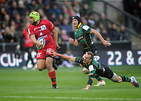 Rugby Union - 2019 / 2020 European Rugby Heineken Champions Cup - Pool One: Northampton Saints vs. Lyon<br /> <br /> Charlie Ngatai of Lyon is challenged by Rory Hutchinson of Northampton, at Franklin's Gardens.<br /> <br /> COLORSPORT/ANDREW COWIE