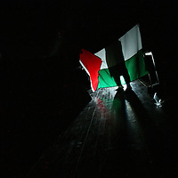 "A Member of The Palestinian Circus School holds up a Palstinian flag behind the scenes, before going on stage to perform the show ""Circus behind the wall"" in Ramallah, November 20, 2009.The circus group was established in 2006, in order to give a new way of expression for Palestinians, and a new way to deliver the idea of resistance to the occupation. This performance is based on the life of Palestinians behind the separation wall. Photo by Michal Fattal/backyard"
