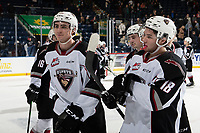 KELOWNA, BC - DECEMBER 18: Jackson Shepard #18 and Trevor Longo #4 of the Vancouver Giants exit the ice after the win against the Kelowna Rockets at Prospera Place on December 18, 2019 in Kelowna, Canada. (Photo by Marissa Baecker/Shoot the Breeze)