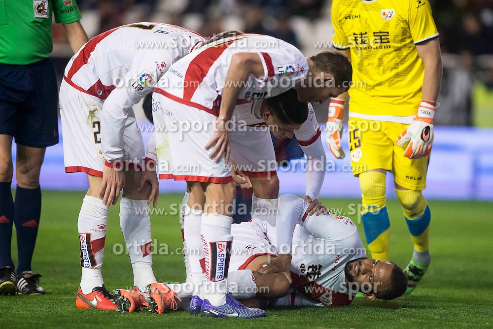 12.03.2016, Estadio de Vallecas, Madrid, ESP, Primera Division, Rayo Vallecano vs SD Eibar, 29. Runde, im Bild Rayo Vallecano's Diego LLorente (L), Ze Castro (C) and Bebe // during the Spanish Primera Division 29th round match between Rayo Vallecano and SD Eibar at the Estadio de Vallecas in Madrid, Spain on 2016/03/12. EXPA Pictures &copy; 2016, PhotoCredit: EXPA/ Alterphotos/ Borja B.Hojas<br /> <br /> *****ATTENTION - OUT of ESP, SUI*****