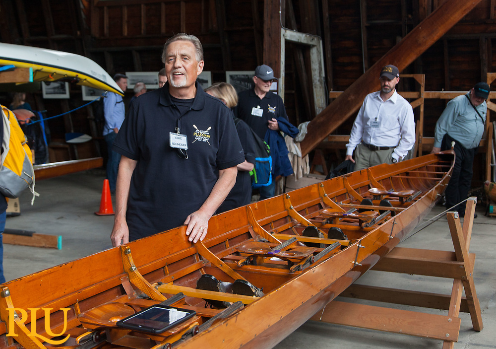 """50th anniversary of the row down crew, Wednesday, June 21, 2017. The crew members rowed and 8-man boat from Seattle to Tacoma after the University of Washington asked for the return of famous """"Husky Clipper"""". The rowers had no other way of bringing the replacement boat to Tacoma and decided to row it down in a snowy December Day. (Photo: John Froschauer/PLU)"""