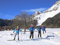 22.03.2018, Ramsau am Dachstein, AUT, Red Bull Der lange Weg, Überquerung Alpenhauptkamm, längste Skitour der Welt, im Bild v. l. Philipp Reiter (GER), temporärer Begleiter Toni Pilz (AUT), Bernhard Hug (SUI), David Wallmann (AUT) // during the Red Bull Der lange Weg, crossing of the main ridge of the Alps, longest ski tour of the world, in Ramsau am Dachstein, Austria on 2018/03/22. EXPA Pictures © 2018, PhotoCredit: EXPA/ Martin Huber
