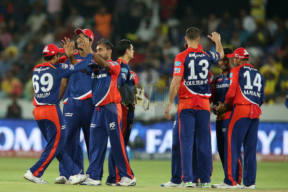 Karun Nair of Delhi Daredevils congratulates Amit Mishra of Delhi Daredevils and Nathan Coulter-Nile of Delhi Daredevils congratulates Rishabh Pant of Delhi Daredevils for getting Yuvraj Singh of Sunrisers Hyderabad wicket during match 42 of the Vivo IPL 2016 (Indian Premier League) between the Sunrisers Hyderabad and the Delhi Daredevils held at the Rajiv Gandhi Intl. Cricket Stadium, Hyderabad on the 12th May 2016<br /> <br /> Photo by Shaun Roy / IPL/ SPORTZPICS
