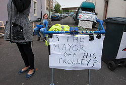 © Licensed to London News Pictures. 17/06/2015. Bristol, UK.  Protest in Montpelier, Bristol, against the new Residents Parking Zone (RPZ) as road markings are painted for parking bays and double yellow lines.  Some residents from Montpelier have blockaded East Gove and are refusing to allow contractors to paint RPZ road markings.  Photo credit : Simon Chapman/LNP
