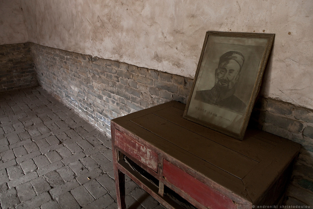 Picture of Yang Lu-chan, the founder of Yang style Taijiquan in the room where he used to live at the house of master Chen Changxing from who he learned Chen style Taijiquan. The house of Chen Changxing is now a museum.