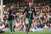Bristol City midfielder, Marlon Pack (21) celebrating scoring goal with team mate 1-1 during the Sky Bet Championship match between Fulham and Bristol City at Craven Cottage, London, England on 12 March 2016. Photo by Matthew Redman.