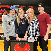 18 November 2017:  The San Diego State women's volleyball team closes out it's season against #24 Colorado State University. San Diego State libero/defensive specialist Devyn Pritchard (13) seen here with her family after her last game. The Aztecs fell to the Rams in three sets. <br /> www.sdsuaztecphotos.com