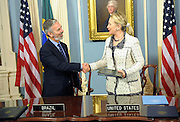 09.APRIL.2012. WASHINGTON D.C.<br /> <br /> U.S. SECRETARY OF STATE HILLARY RODHAM CLINTON AND BRAZILIAN FOREIGN MINISTER ANTONIO PATRIOTA SHAKE HANDS AFTER SIGNING THE U.S.-BRAZIL AVIATION PARTNERSHIP MEMORANDUM AT THE U.S. DEPARTMENT OF STATE IN WASHINGTON, D.C., ON APRIL 9, 2012.  <br /> <br /> BYLINE: EDBIMAGEARCHIVE.COM<br /> <br /> *THIS IMAGE IS STRICTLY FOR UK NEWSPAPERS AND MAGAZINES ONLY*<br /> *FOR WORLD WIDE SALES AND WEB USE PLEASE CONTACT EDBIMAGEARCHIVE - 0208 954 5968*