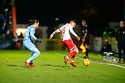 Stevenage's midfielder Harry Beautyman tries to control the ball during the EFL Sky Bet League 2 match between Stevenage and Coventry City at the Lamex Stadium, Stevenage, England on 21 November 2017. Photo by Matt Bristow.