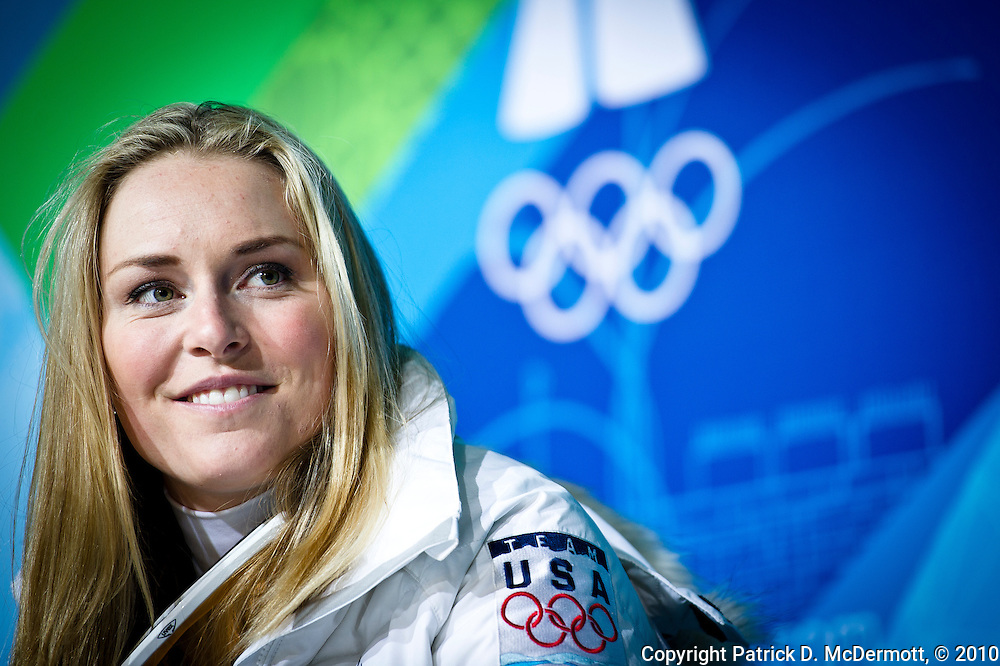 Lindsey Vonn of the United States speaks to members of the media after winning the bronze medal in the Women's Super G during the 2010 Vancouver Winter Olympics in Whistler, British Columbia on Saturday, Feb. 20, 2010.