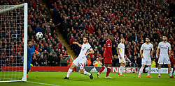LIVERPOOL, ENGLAND - Tuesday, April 24, 2018: AS Roma's goalkeeper Alisson Becker is beaten as Liverpool score the fifth goal during the UEFA Champions League Semi-Final 1st Leg match between Liverpool FC and AS Roma at Anfield. (Pic by David Rawcliffe/Propaganda)
