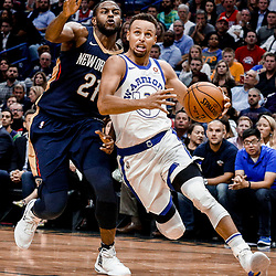 Oct 20, 2017; New Orleans, LA, USA; Golden State Warriors guard Stephen Curry (30) drives past New Orleans Pelicans forward Darius Miller (21) during the second quarter of a game at the Smoothie King Center. Mandatory Credit: Derick E. Hingle-USA TODAY Sports