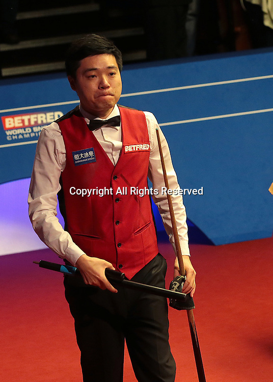 30.04.2016. The Crucible, Sheffield, England. World Snooker Championship. Semi Final, Ding Junhui versus Alan McManus.   Ding Junhui walks out The Crucible Theatre after beating Alan McManus and booking his place in the Betfred World Snooker Championship Final
