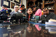 Immigrant Mario Vargas' daughter Jersey, 13,, center, speaks in a news conference before a court appearance on Thursday, Feb. 9, 2017 in Los Angeles. Vargas attended his first removal hearing before an immigration judge since being released from Immigration Detention in 2014. He is accompanied by his daughter, Jersey, who, when she was 10, traveled to Rome three years ago and asked Pope Francis - one day before he was to meet with President Barack Obama - to intervene to prevent her father's deportation.  (Photo by Ringo Chiu/PHOTOFORMULA.com)<br /> <br /> Usage Notes: This content is intended for editorial use only. For other uses, additional clearances may be required.