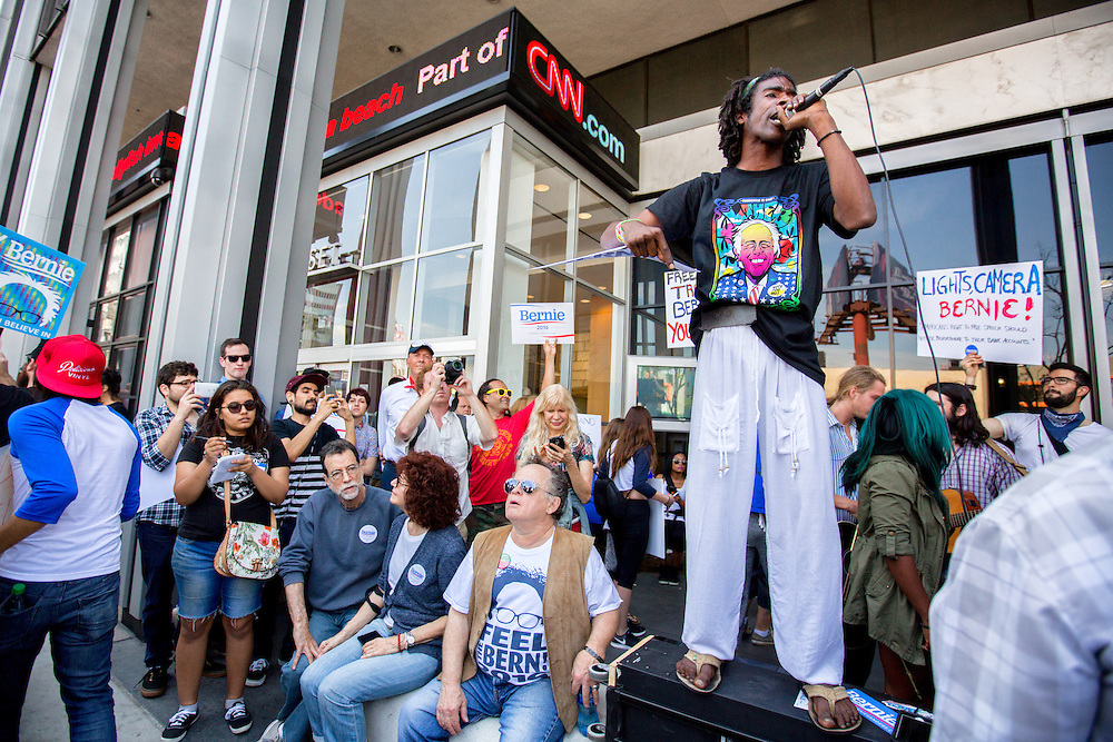 Supporters of democratic presidential candidate Bernie Sanders stage a demonstration in front of CNN headquarters. They claim that their candidate does not get equal coverage on CNN or any other network news station. April 3, 2016. Hollywood, Calif. (Photo by Gabriel Romero ©2016)