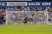 Michael Ingham & Dave Winfield try to stop Sheffield Wednesday scoring during the Friendly match between York City and Sheffield Wednesday at Bootham Crescent, York, England on 18 July 2015. Photo by Simon Davies.