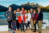 "Passengers aboard the  Un-Cruise small cruise ship ""Wilderness Explorer"", Nakwasina Sound,  Inside Passage, Southeast Alaska USA."