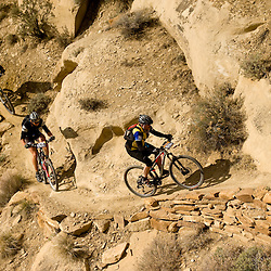 Riders ascend the third mesa switchbacks early in the day while the sun was still shining.